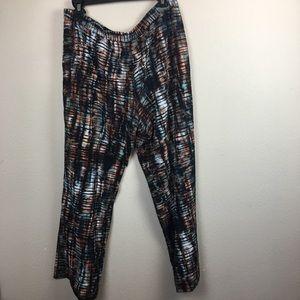 Wide Leg Teal & Rust Pants- Size XXL